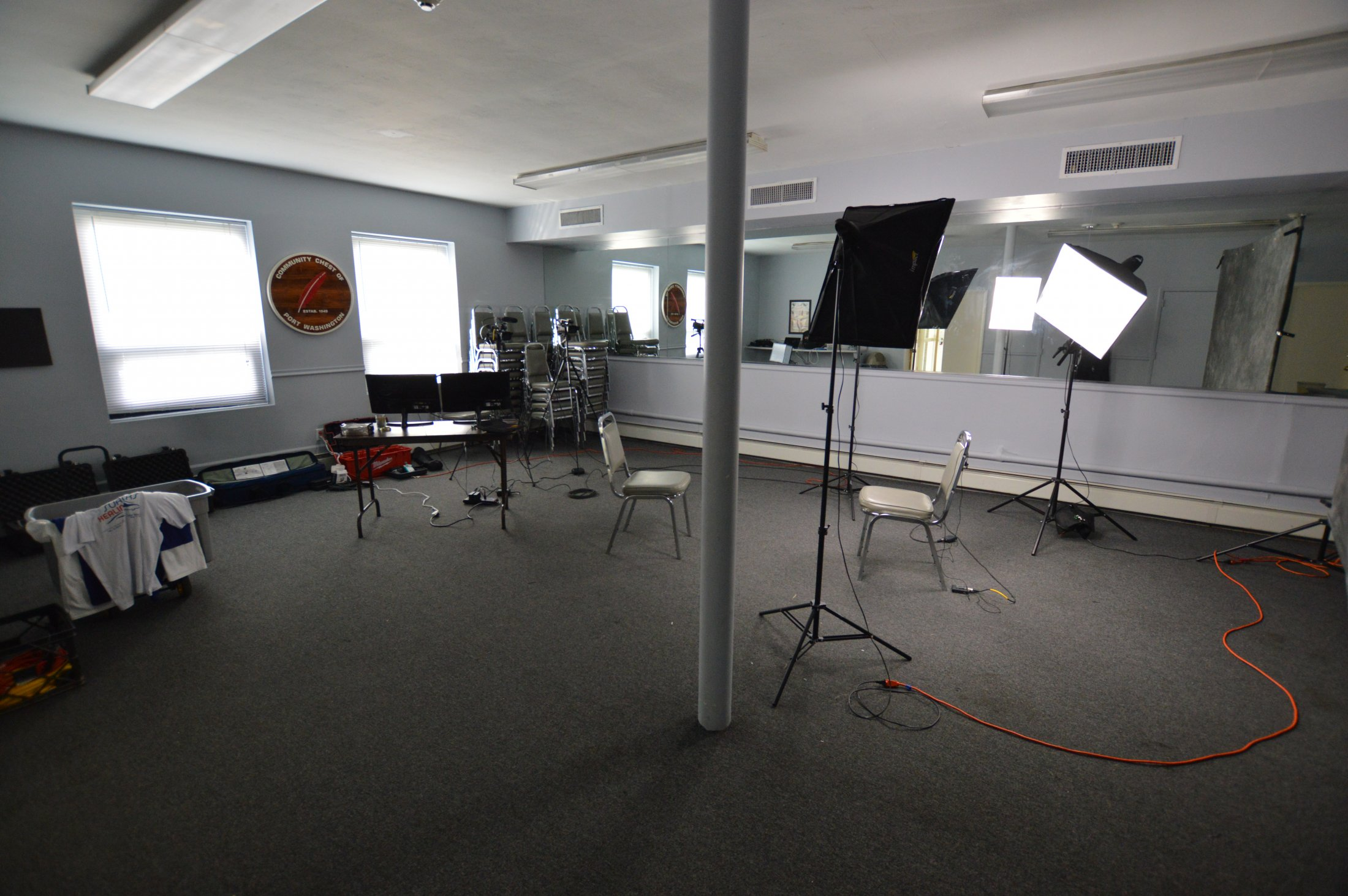 Setup in the conference room beneath old Spectrum shop