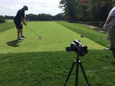 Filming on the golf course